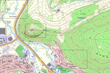 Gotthardsberg und Umgebung in der Topographischen Karte DTK25; Gebietsausschnitt 1600 m x 2400 M. Geobasisdaten: Bayerische Vermessungsverwaltung