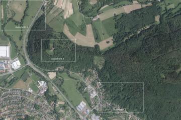 Gotthardsberg und Umgebung im Luftbild vom 9.6.2014; Gebietsausschnitt 1600 m x 2400 m. Geobasisdaten: Bayerische Vermessungsverwaltung