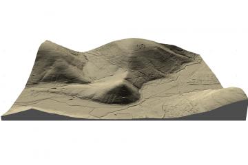 Gotthardsberg und Umgebung im Digitalen Geländemodell DGM1, Visualisierung als 3D-Schrägansicht von Westen, Gebietsausschnitt 1600 m x 2400 m. Geobasisdaten: Bayerische Vermessungsverwaltung; Aufbereitung: Karl-Heinz Gertolff, Egelsbach 2018