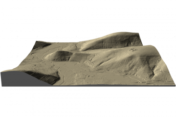 Gotthardsberg und Umgebung im Digitalen Geländemodell DGM1, Visualisierung als 3D-Schrägansicht von Süden, Gebietsausschnitt 1600 m x 2400 m. Geobasisdaten: Bayerische Vermessungsverwaltung; Aufbereitung: Karl-Heinz Gertolff, Egelsbach 2018