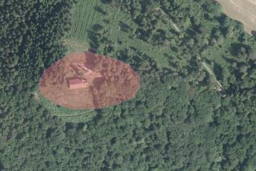 Bergkuppe des Gotthardsbergs im Luftbild vom 9.6.2014; Gebietsausschnitt 300 m x 450 m. Geobasisdaten: Bayerische Vermessungsverwaltung