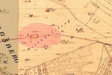 Bergkuppe des Gotthardsbergs in der Historischen Flurkarte der Katasteruraufnahme (um 1850); Gebietsausschnitt 300 m x 450 m. Geobasisdaten: Bayerische Vermessungsverwaltung