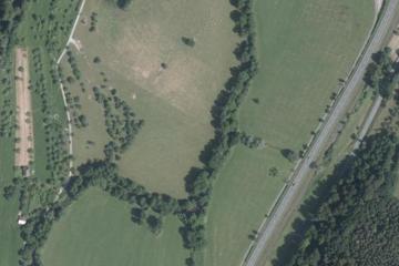 Ehemalige Wässerwiesen: Luftbild vom 9.6.2014; Gebietsausschnitt 400 m x 600 m Geobasisdaten: Bayerische Vermessungsverwaltung