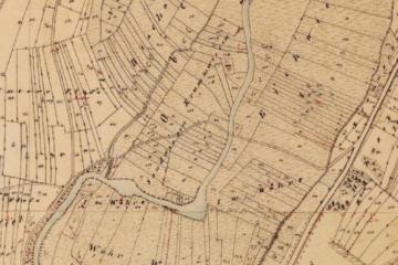 Ehemaligen Wässerwiesen: Historische Flurkarte der Katasteruraufnahme (um 1850); Gebietsausschnitt 400 m x 600 m. Geobasisdaten: Bayerische Vermessungsverwaltung