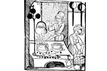 Kuchenmaistrey. Holzschnitt, erstmals erschienen 1485 bei Peter Wagner. Abbildung aus der Ausgabe von Johannes Fischauer, Augsburg 1505 (https://commons.wikimedia.org/wiki/File:Kuchenmaistrey.jpg)
