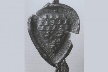Siegel des Konrad von Kugelnberg, 1229, Staatsarchiv Würzburg, KlosterSchmerlenbach, Urkunde 5. Aus: Angelika Röhrs-Müller, Markt Goldbach, Goldbach 1998, S. 27.