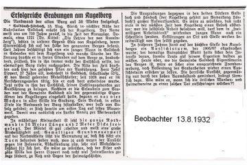 """Bericht über die Grabung auf dem Kugelberg bei Goldbach im """"Beobachter"""" vom 13.08.1932. Quelle: Geschichts- und Heimatverein Goldbach e.V."""