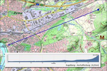 Abb. 4: Sichtbeziehung zwischen dem Kugelberg und Aschaffenburg (Geländeprofil 2,5-fach überhöht). Quelle: Bayerischer Denkmal-Atlas (www.blfd.bayern.de); Bearbeiter: Karl-Heinz Gertloff, Egelsbach.