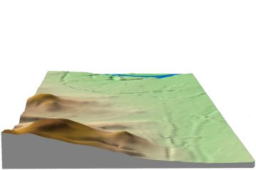 Abb. 5: Sichtbeziehung zwischen dem Kugelberg und Aschaffenburg in 3D-Darstellung (Gelände 1,5-fach überhöht). Quelle: Bayerischer Denkmal-Atlas (www.blfd.bayern.de); Bearbeiter: Karl-Heinz Gertloff, Egelsbach.