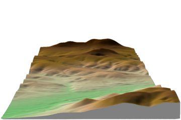 Abb. 7: Sichtbeziehungen zwischen Kugelberg und Klosterberg/Gräfenberg in 3D-Darstellung (Gelände 1,5-fach überhöht). Quelle: Bayerischer Denkmal-Atlas (www.blfd.bayern.de); Bearbeiter: Karl-Heinz Gertloff, Egelsbach.