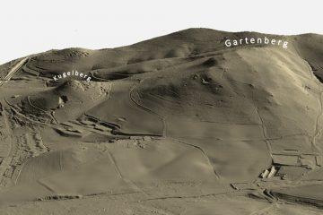 Abb. 13: Kugelberg und Gartenberg im Digitalen Geländemodell DGM1 in 3D-Schrägansicht von Westen. Quelle: Bayerischer Denkmal-Atlas (www.blfd.bayern.de); Bearbeiter: Karl-Heinz Gertloff, Egelsbach.