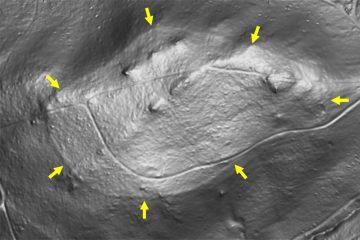 Abb. 16: Gipfelbereich des Gartenbergs im Digitalen Geländemodell DGM1 mit ehemal. Ringwall (Gebietsausschnitt 333 m x 500 m). Quelle: Bayerischer Denkmal-Atlas (www.blfd.bayern.de); Bearbeiter: Karl-Heinz Gertloff, Egelsbach.