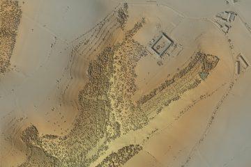 Digitales Geländemodell mit Baumbestand von der Burg Hauenstein beim Krombach, AB. Datengrundlage: Bayerische Vermessungsverwaltung 2017; Bearbeiter: Karl-Heinz Gertloff, Egelsbach.