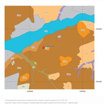 Übersichtsbodenkarte (ÜBK 25) um den Kugelberg bei Goldbach.