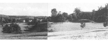 Blick auf die Burg Mömbris als das umliegende Weideland noch bewirtschaftet war. Deutlich erkennt man die Geländekante in Richtung Kahl, aus: Griebel 1982, S. 87.