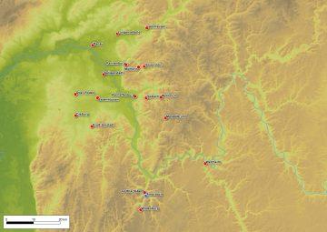 Verbreitung mittelalterlicher und neuzeitlicher Bodenfliesen im Spessart und seinen angrenzenden Regionen. Karte: Sabrina Bachmann, Heimbuchenthal