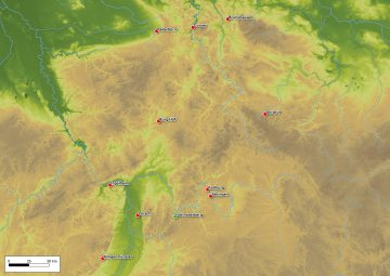 Verbreitung von Fragmenten aus Porfido verde antico in der karolingischen und salischen Epoche. Karte: Sabrina Bachmann, Heimbuchenthal
